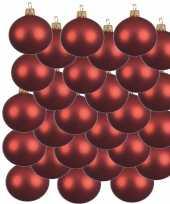 24x glazen kerstballen mat kerst rood 8 cm kerstboom versiering decoratie