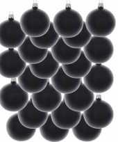 24x glazen kerstballen mat zwart 6 cm kerstboom versiering decoratie