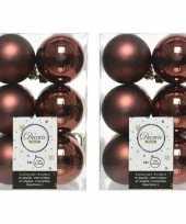 24x kunststof kerstballen glanzend mat mahonie bruin 6 cm kerstboom versiering decoratie