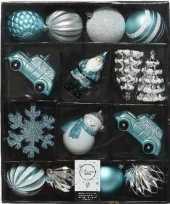 25x kunststof kerstballen kersthangers ijsblauw wit grijsblauw kerstboom versiering decoratie