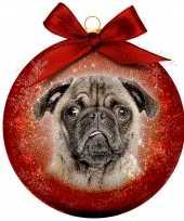 2x huisdieren kerstballen met mopshonden 8 cm