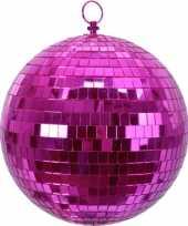 2x kerstversiering kerstdecoratie roze decoratie disco kerstballen 20 cm