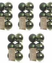 30x kunststof kerstballen glanzend mat donkergroen 8 cm kerstboom versiering decoratie