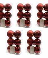30x kunststof kerstballen glanzend mat donkerrood 8 cm kerstboom versiering decoratie