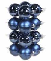 32x glazen kerstballen mat en glans blauw 8 cm
