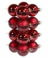 32x glazen kerstballen mat en glans rood 8 cm