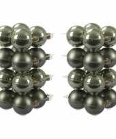 32x glazen kerstballen mat glans graniet groen 8 cm