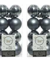 32x kunststof kerstballen glanzend mat grijsblauw 4 cm kerstboom versiering decoratie