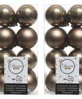 32x kunststof kerstballen glanzend mat kasjmier bruin 4 cm kerstboom versiering decoratie