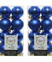 32x kunststof kerstballen glanzend mat kobalt blauw 4 cm kerstboom versiering decoratie