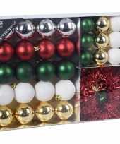 32x kunststof kerstballen mat glans glitter zilver goud groen rood wit 4 5 8 cm en folieslinger kerstboom versiering decoratie