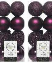 32x kunststof kerstballen mix aubergine paars 6 cm kerstboom versiering decoratie