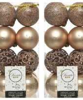 32x kunststof kerstballen mix donker parel champagne 6 cm kerstboom versiering decoratie