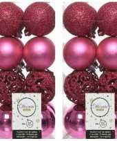 32x kunststof kerstballen mix fuchsia roze 6 cm kerstboom versiering decoratie