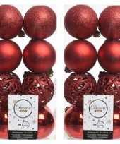 32x kunststof kerstballen mix kerst rood 6 cm kerstboom versiering decoratie