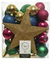 33x kunststof kerstballen goud blauw roze groen inclusief piek