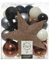 33x kunststof kerstballen mix bruin champagne blauw 5 6 8 cm kerstboom versiering decoratie