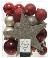 33x kunststof kerstballen mix bruin champagne rood 5 6 8 cm kerstboom versiering decoratie