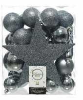 33x kunststof kerstballen mix grijsblauw 5 6 8 cm kerstboom versiering decoratie