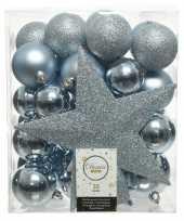 33x kunststof kerstballen mix lichtblauw 5 6 8 cm kerstboom versiering decoratie