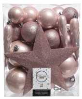 33x kunststof kerstballen mix lichtroze 5 6 8 cm kerstboom versiering decoratie