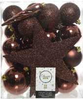 33x kunststof kerstballen mix mahonie bruine 5 6 8 cm kerstboom versiering decoratie