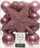 33x kunststof kerstballen mix oud roze 5 6 8 cm kerstboom versiering decoratie