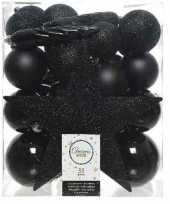 33x kunststof kerstballen mix zwart 5 6 8 cm kerstboom versiering decoratie