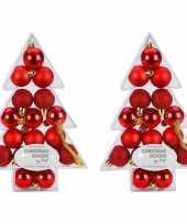 34x kunststof rode kleine kerstballen pakket 3 cm