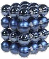 36x glazen kerstballen mat en glans blauw 4 cm
