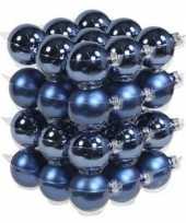 36x glazen kerstballen mat en glans blauw 6 cm