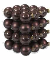 36x glazen kerstballen mat en glans donkerbruin 4 cm