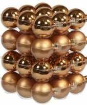 36x glazen kerstballen mat en glans koper 4 cm