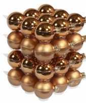 36x glazen kerstballen mat en glans koper 6 cm