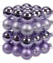 36x glazen kerstballen mat en glans mix paars 4 cm