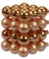 36x glazen kerstballen mat en glans oranje 4 cm