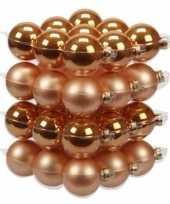 36x glazen kerstballen mat en glans oranje 6 cm