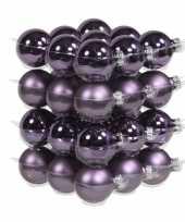 36x glazen kerstballen mat en glans paars 4 cm