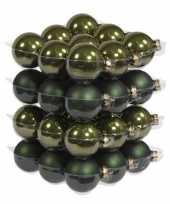 36x glazen kerstballen mat glans donker olijf 6 cm