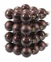 36x glazen kerstballen mat glans donkerbruin 6 cm