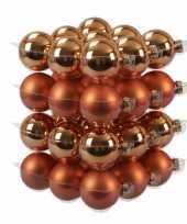 36x glazen kerstballen mat glans goudsbloem oranje 6 cm