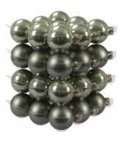 36x glazen kerstballen mat glans graniet groen 6 cm