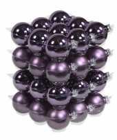 36x glazen kerstballen mat glans paars 6 cm