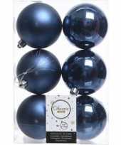 36x kunststof kerstballen glanzend mat donkerblauw 8 cm kerstboom versiering decoratie