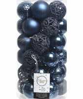 37x kunststof kerstballen mix donkerblauw 6 cm kerstboom versiering decoratie