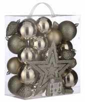 39x kunststof kerstballen 8 cm met ster piek licht champagne