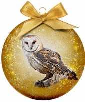 3x dieren kerstballen met uilen 8 cm