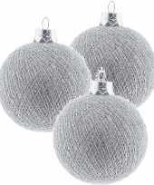 3x zilveren cotton balls kerstballen decoratie 6 5 cm