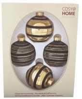 4 delige kerstballen set zwart goud van glas