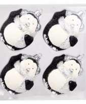 4 delige pinguin kerstballen set zwart wit